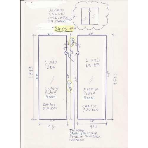 Espejo a Medida 5mm con taladro entrega en Zuera