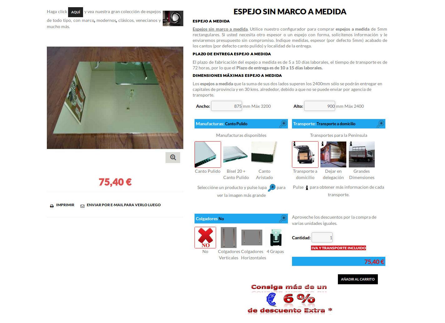 Espejo a medida theme for Espejos a medida online