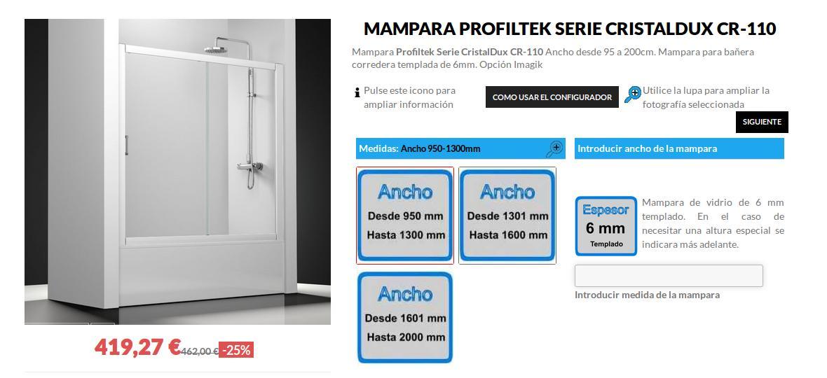 Mampara Profiltek Serie Cristaldux CR-110 1