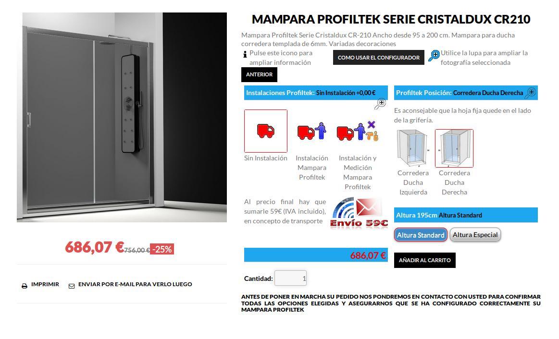 Mampara Profiltek Serie Cristaldux CR 210 4