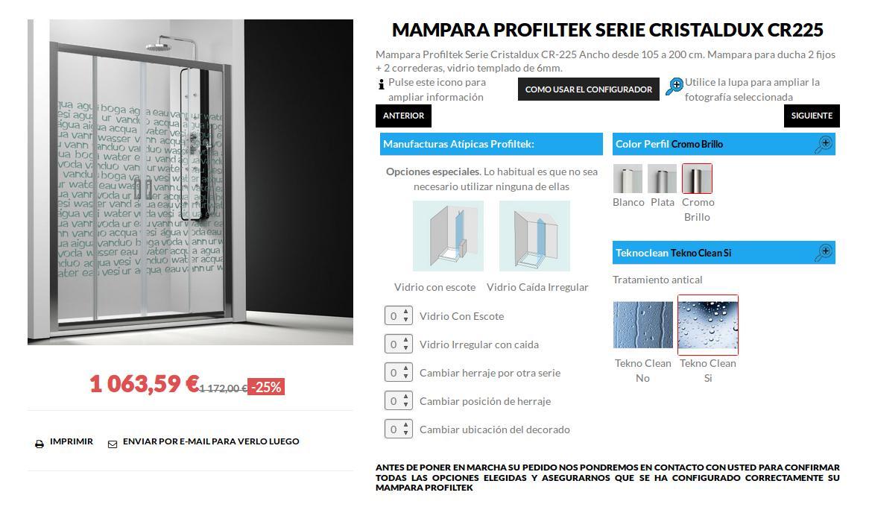 Mampara Profiltek Serie Cristaldux CR-225 3